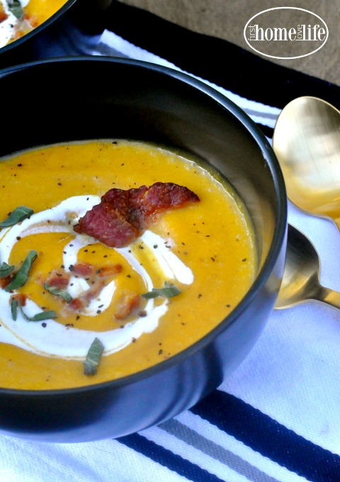 the-best-butternut-squash-soup-recipe-made-from-scratch-with-bacon-and-sage-so-delicious-and-perfect-to-serve-at-thanksgiving-via-firsthomelovelife-com
