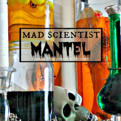 Mad Scientist Themed Mantel
