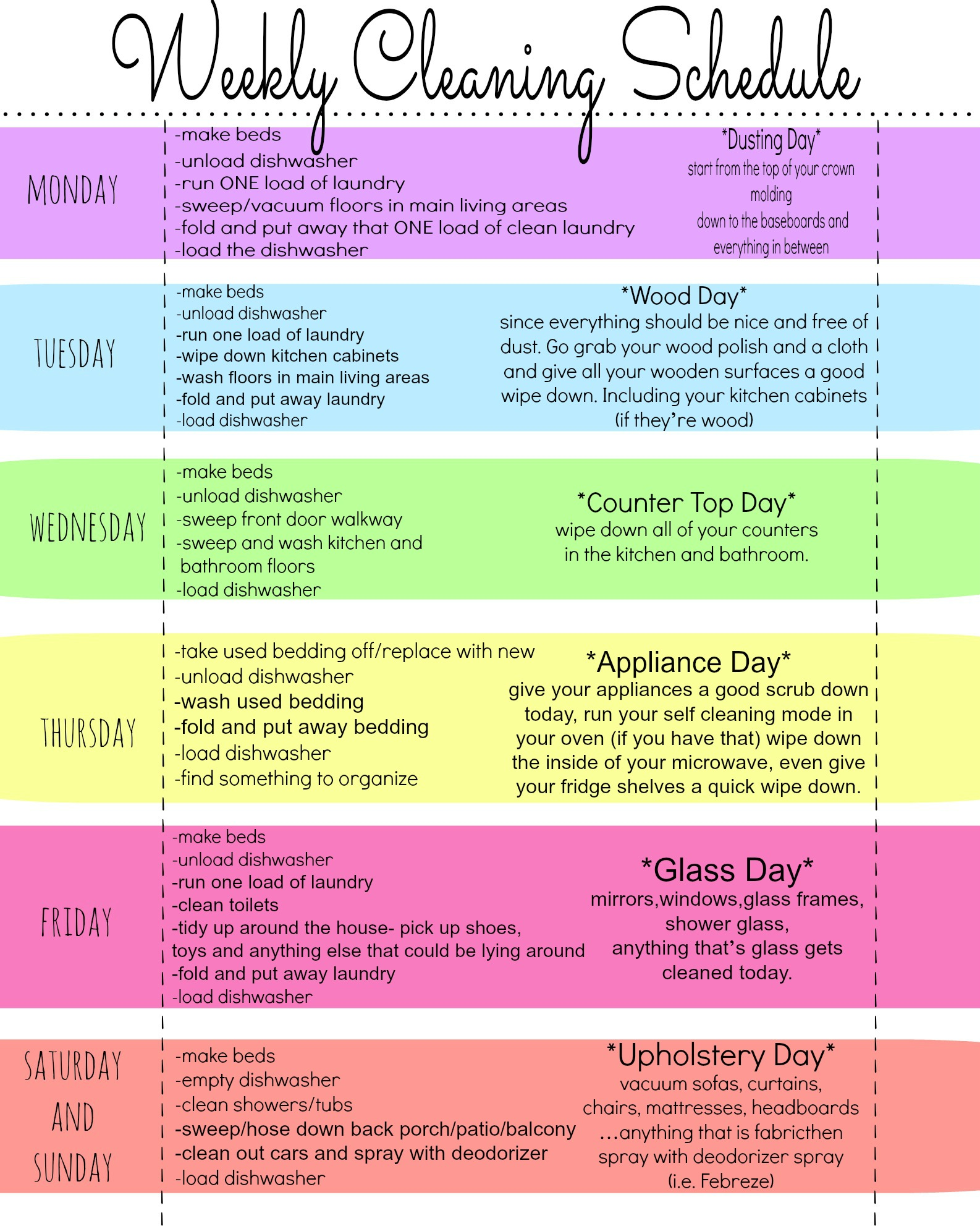Lucrative image with regard to weekly cleaning schedule printable