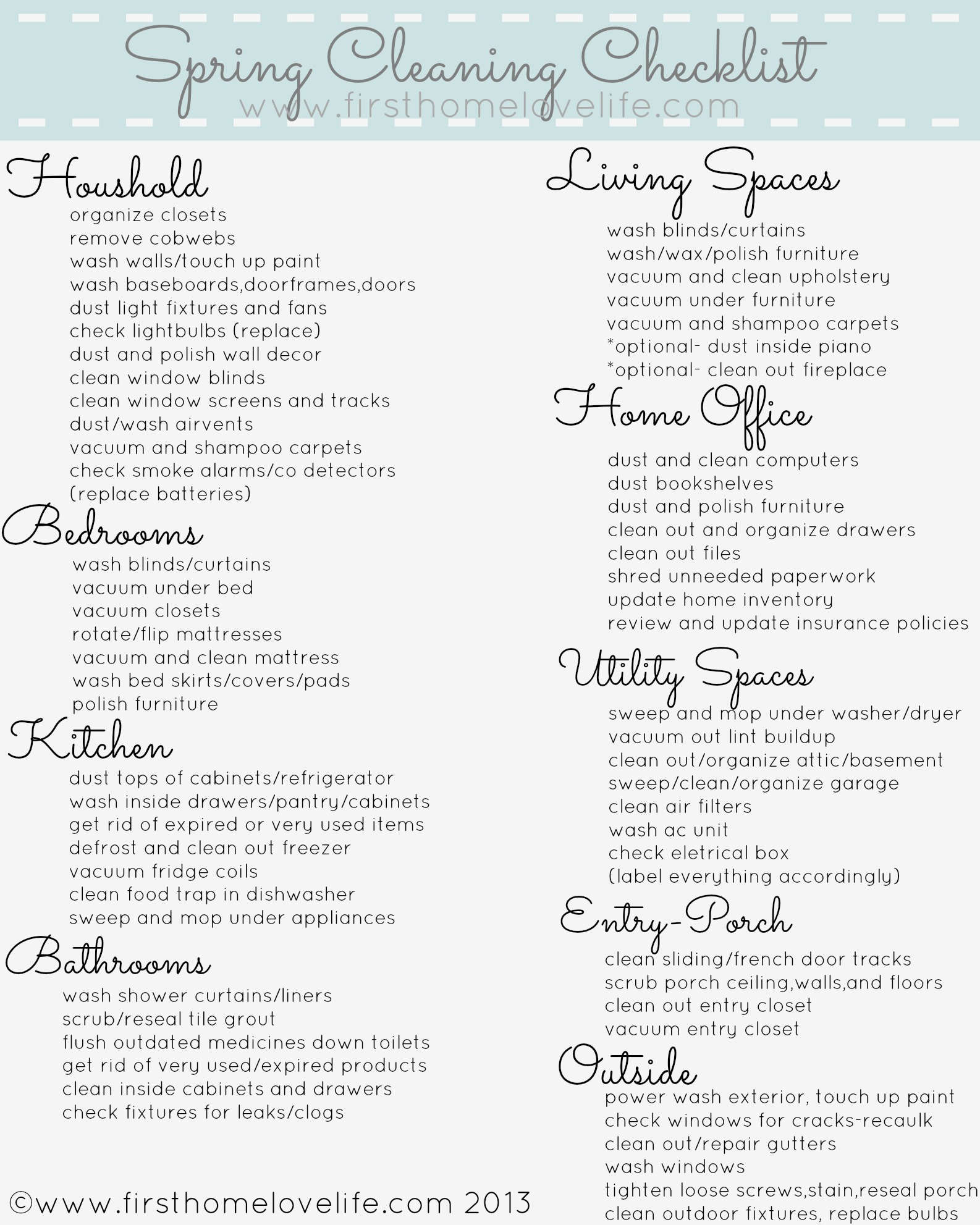 Spring Cleaning Checklist spring cleaning printable checklist - first home love life