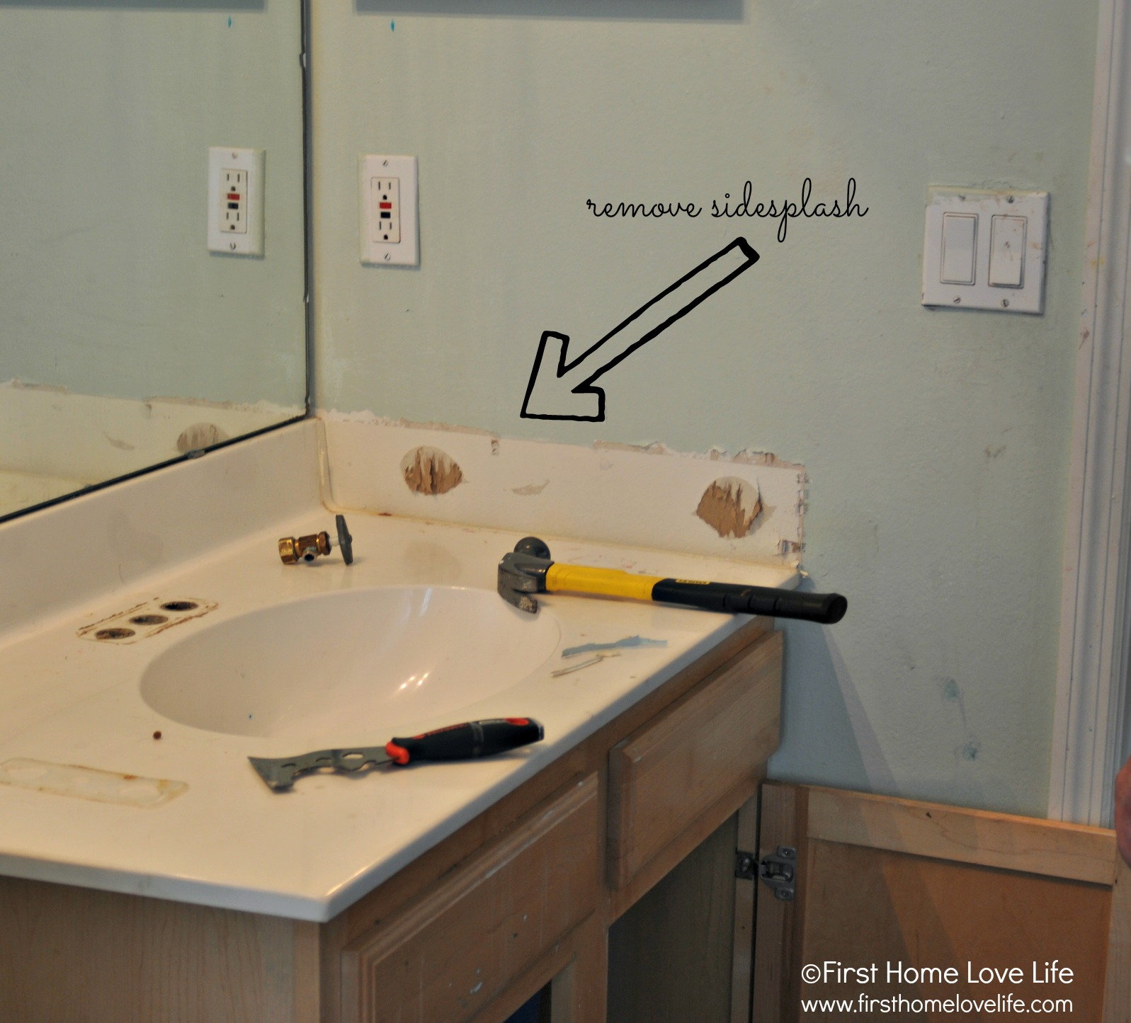 Bathroom Vanity With Quartz Counter First Home Love Life - How much to replace a bathroom vanity