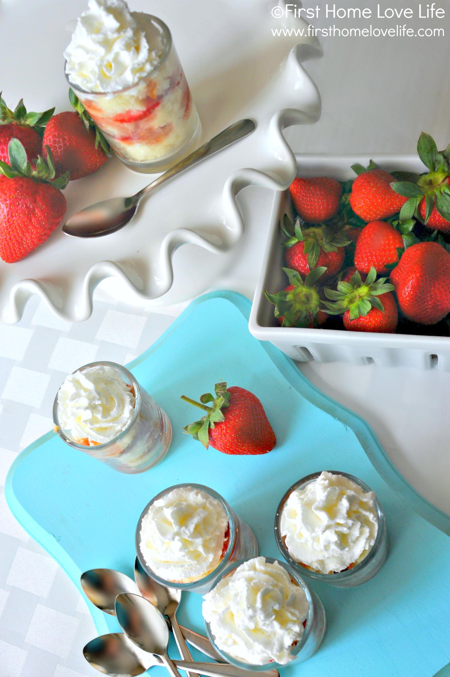 Four Ingredient- Strawberry Shortcake Shooters - First Home Love Life