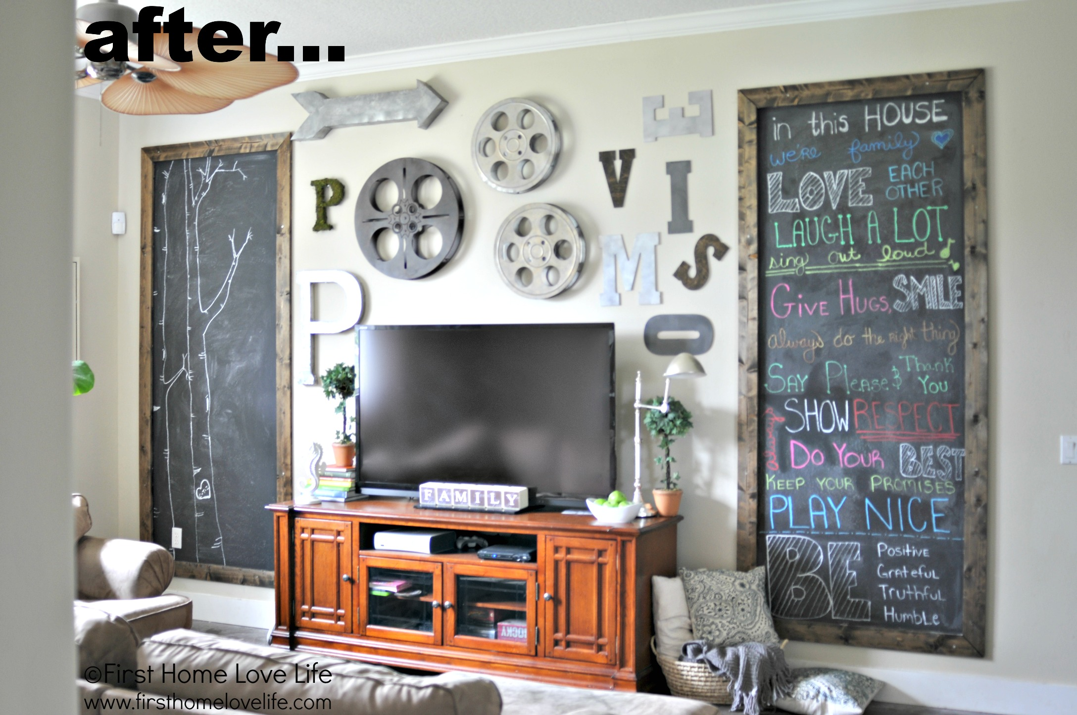 Industrial Wall Decor Industrial Style Family Room Gallery Wall With Chalkboard Art