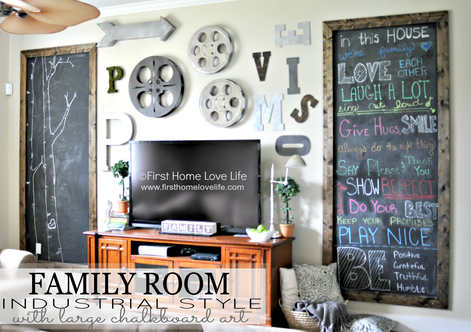 Industrial style family room gallery wall with chalkboard for Family room wall art