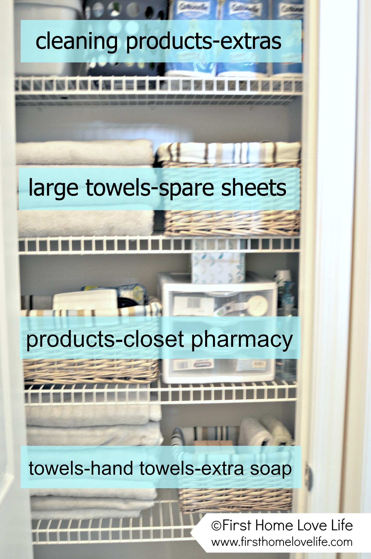 Linen Closet Organization And Closet Pharmacy First Home Love Life