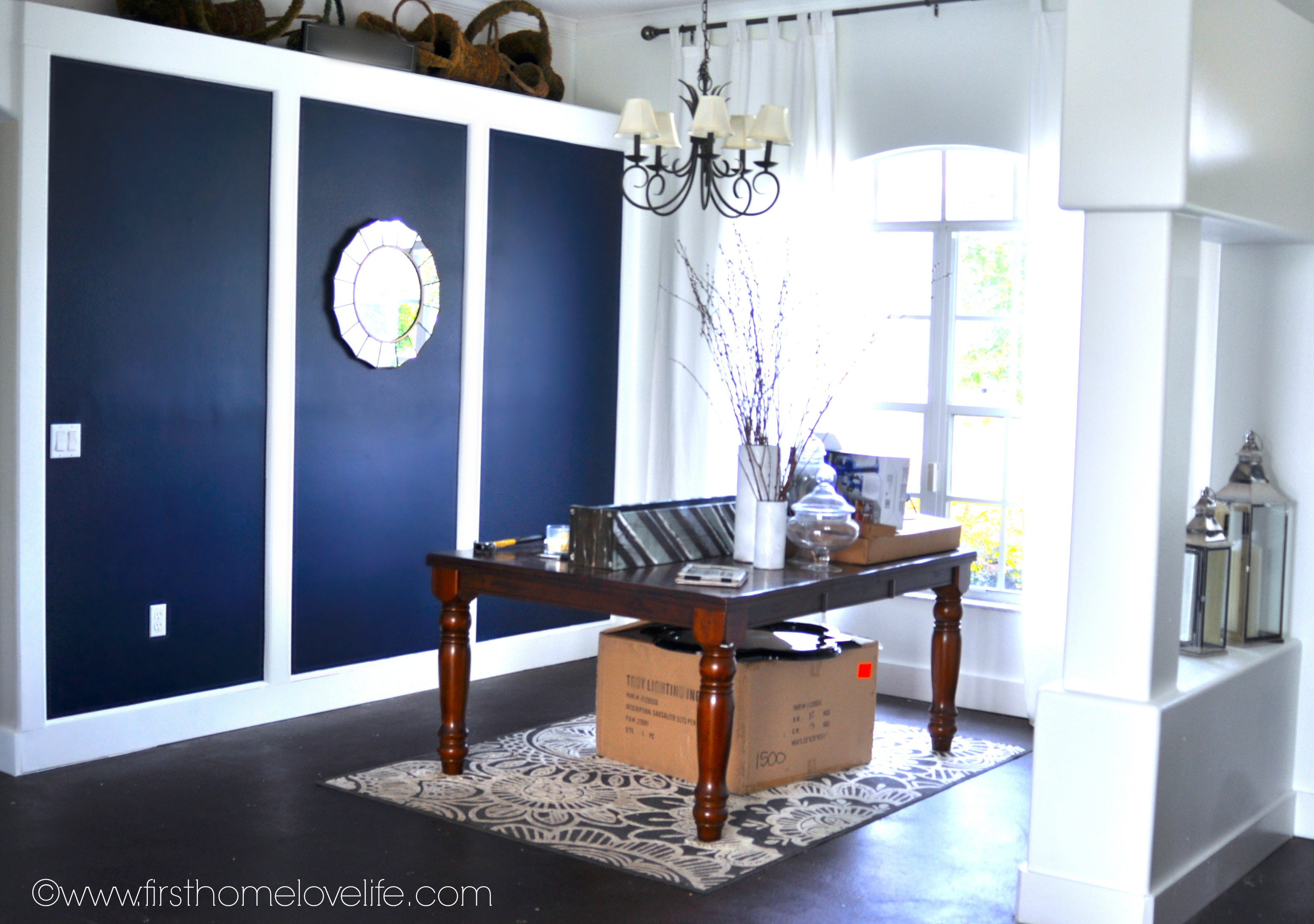 Dark Blue Painted Wall Dining Room