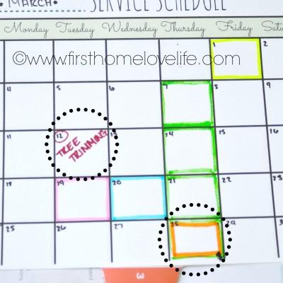 Service Schedule Calendar Printable