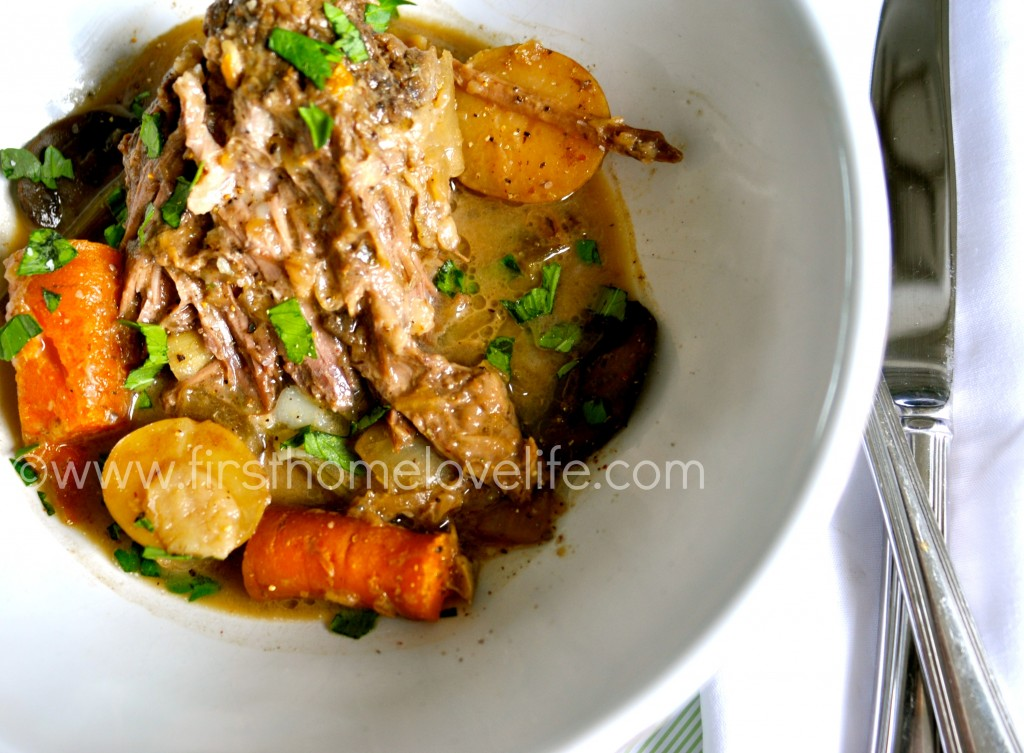 the best crock pot pot roast recipe via firsthomelovelife.com