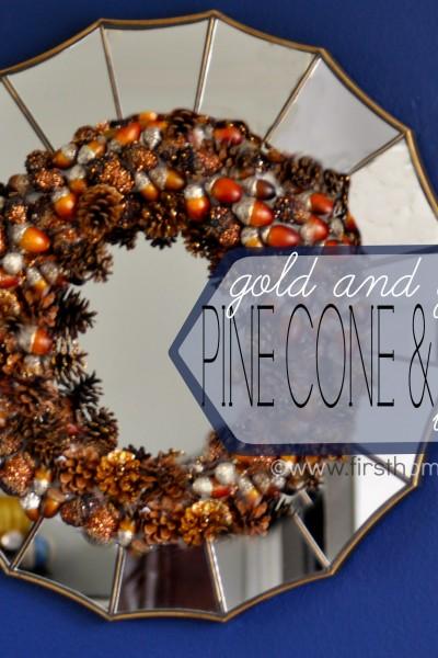 Gold-Glitter Pinecone and Acorn Fall Wreath