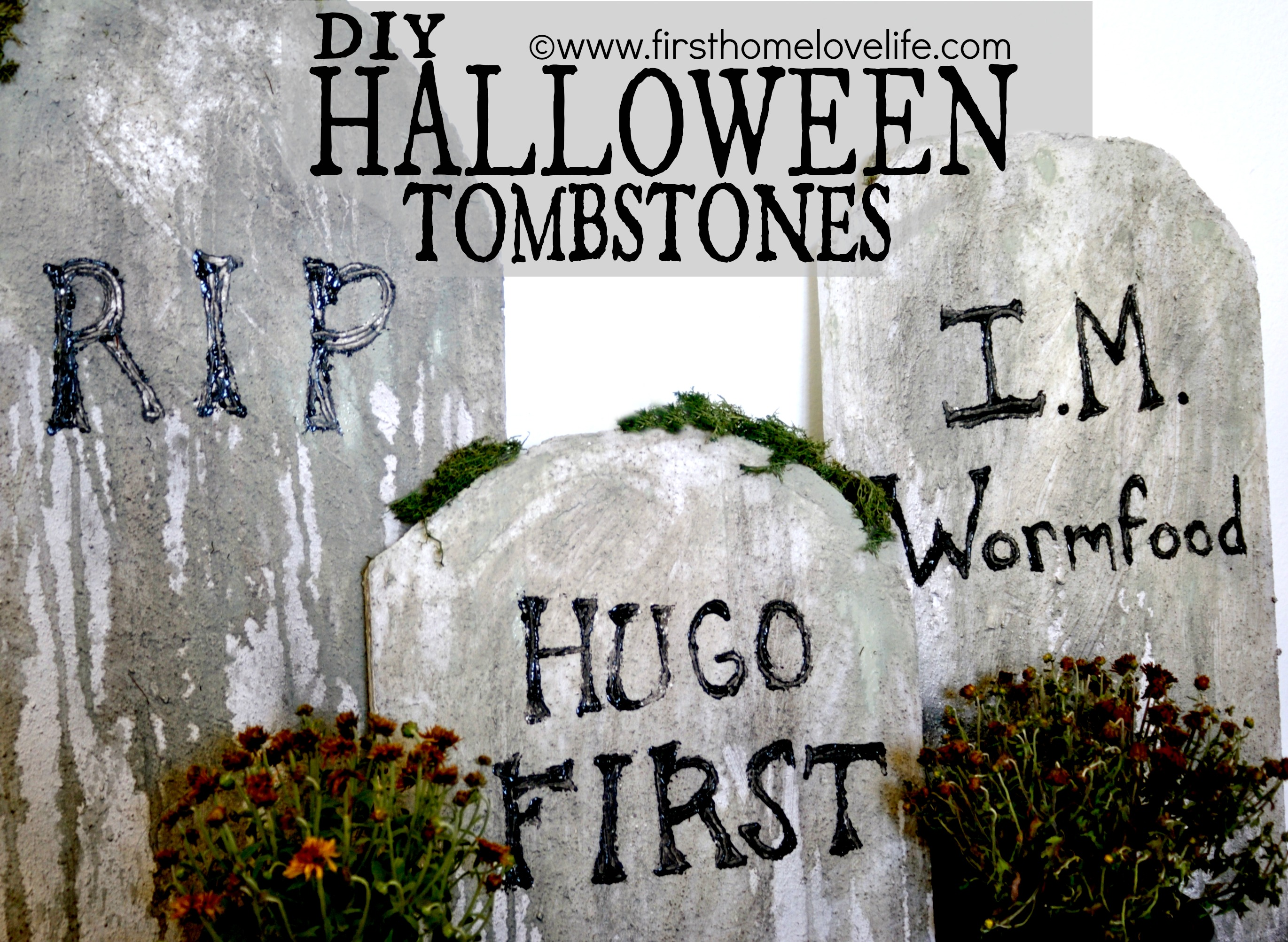 diy halloween tombstones - first home love life