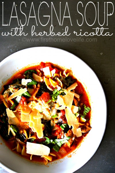 Lasagna Soup with Herbed Ricotta