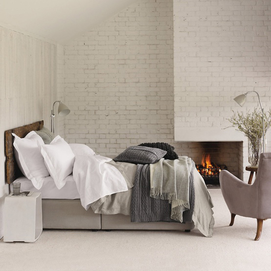 Faux brick ifying first home love life for Grey brick wallpaper bedroom