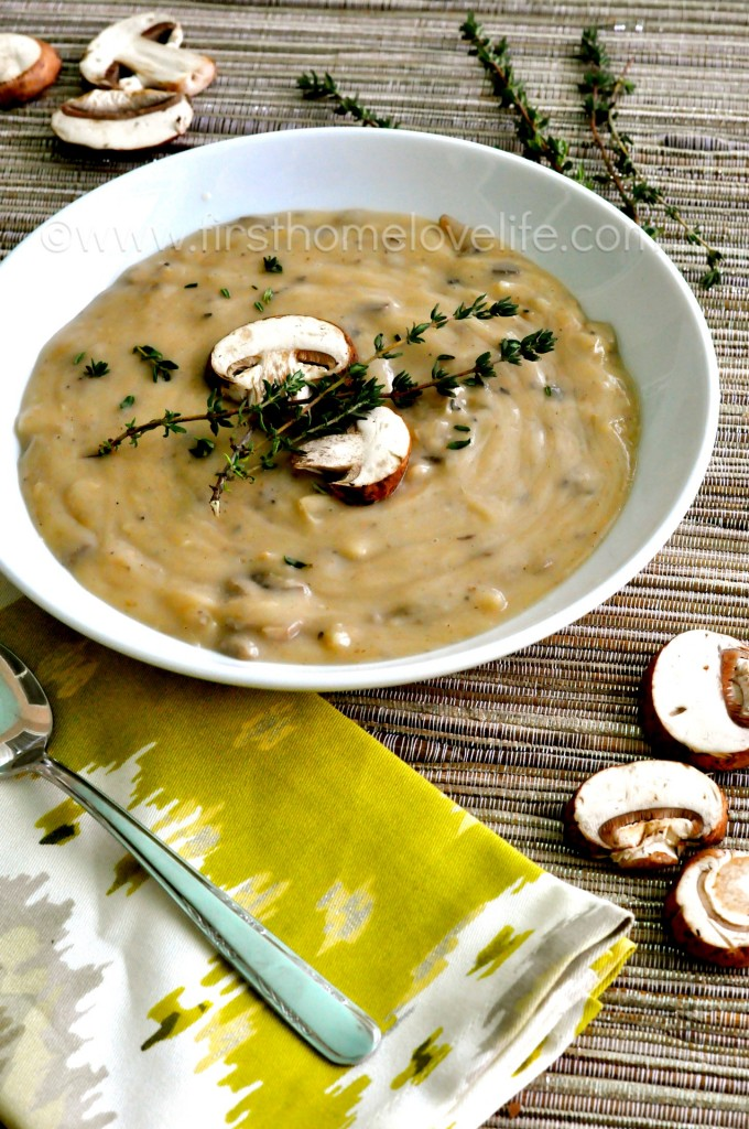 Creamy Crockpot Wild Mushroom Soup- a creamy, decadent soup that can be doctored up with wild rice, chicken, both...OMG guys, it's SO GOOD!