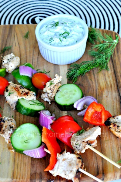 Grilled Chicken Skewers with Homemade Tzatziki
