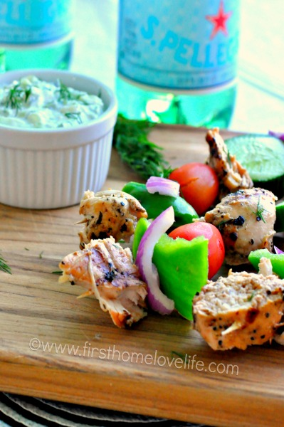 These grilled chicken skewers with homemade tzatziki are the perfect light dinner to kick start your grilling season! Yum yum yum!