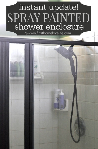 Spray painted shower surround first home love life for How to spray paint doors