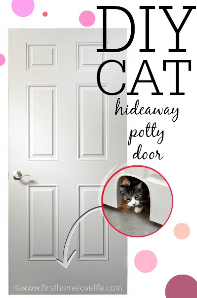 Keep your cat's litter box hidden but easily accessible with this DIY Cat Potty Door cut out!