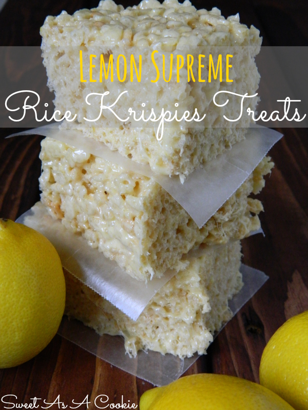 Lemon Supreme Rice Krispies Treats via Sweet as a Cookie