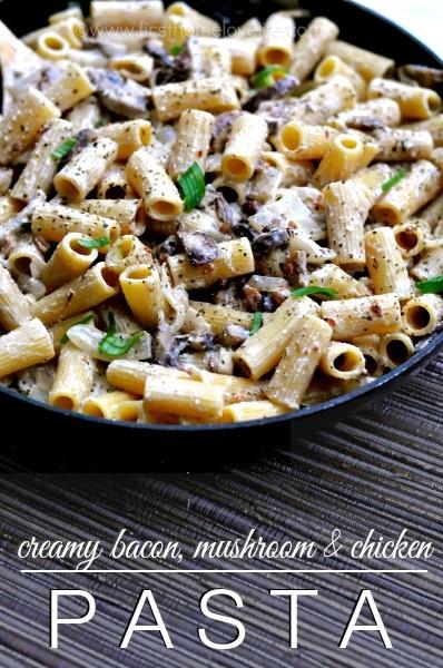 Bacon, Mushroom, Chicken Pasta