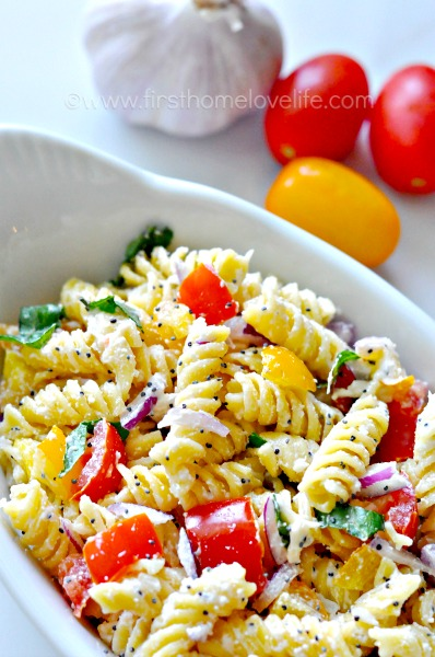 we eat a lot of pasta salads in our house just because theyre so easy to whip together and theyre a great way to use up a bunch of random ingredients