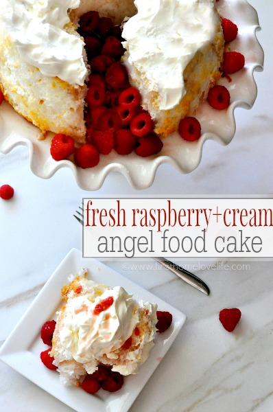 This 'no bake' dessert is the perfect spring/summer treat to whip up before guests arrive! Fresh raspberry + cream angel food cake will instantly become a favorite!