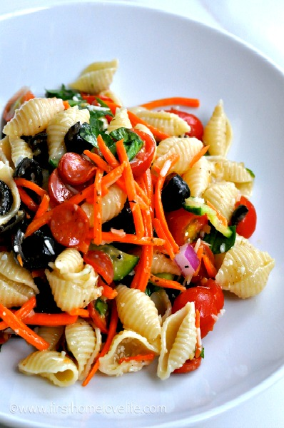 This deli style pasta salad which is a crowd pleasing, easy to make, simply scrumptious dish!