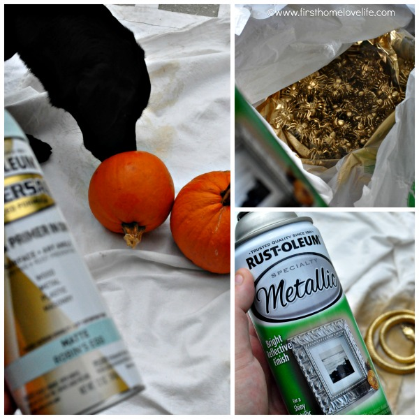 blue and gold pumpkin prep Collage