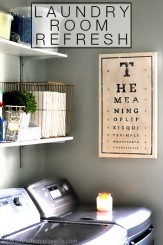 Laundry Room Refresh- an organized laundry room utilizing simple ideas