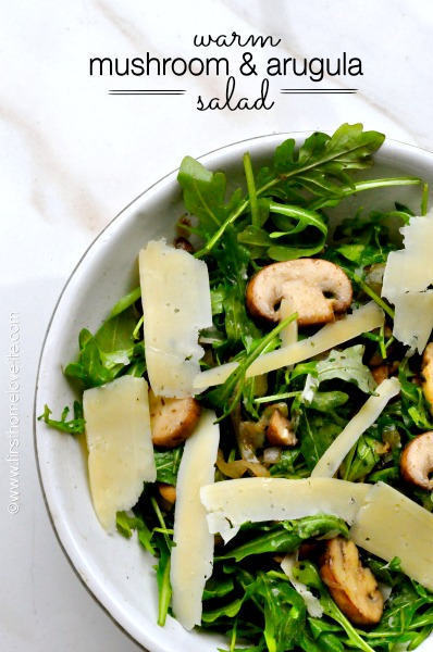 warm mushroom and arugula salad with lemon and parmesan