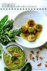 Scallop recipe with delicious walnut basil pesto via www.firsthomelovelife.com