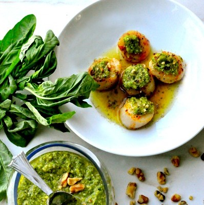Scallops with Walnut Basil Pesto