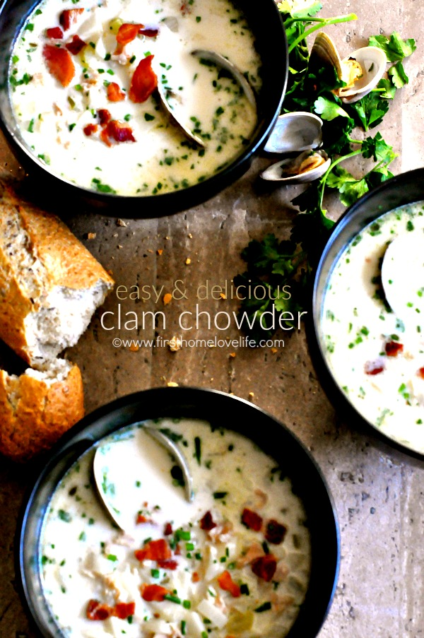 EASY CLAM CHOWDER RECIPE VIA FIRSTHOMELOVELIFE.COM