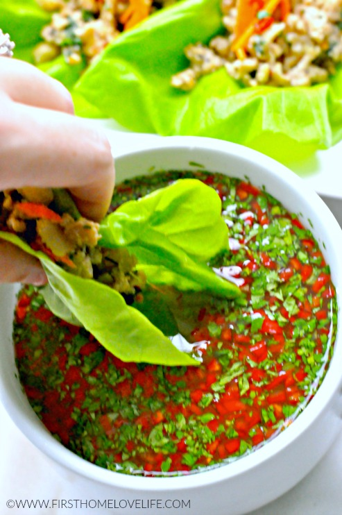 chicken lettuce wraps with dip at firsthomelovelife.com