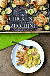 one pan marinated chicken thighs with zucchini and red onion via www.firsthomelovelife.com