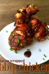 bacon wrapped bbq chicken legs via www.firsthomelovelife.com