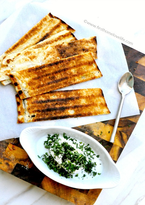 crispy grilled flatbread with herbed goat cheese via www.firsthomelovelife.com