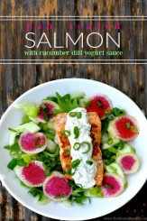 pan seared Salmon salad with creamy cucumber dill yogurt sauce