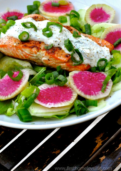 perfect salmon salad recipe with watermelon radish and cucumber via firsthomelovelife.com
