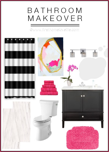 MODERN BLACK AND PINK BATHROOM MAKEOVER INSPIRATION