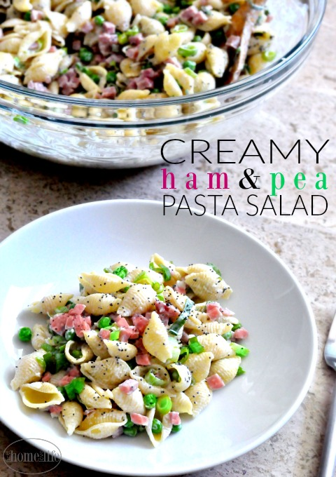 The perfect summer side dish with only 6 ingredients! Creamy ham and pea pasta will be your new party favorite! via www.firsthomelovelife.com