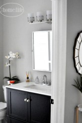 beautiful gray bathroom via www.firsthomelovelife.com