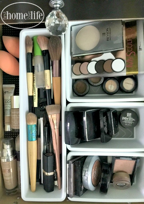 beautiful makeup organization using dollar store containers via firsthomelovelife.com