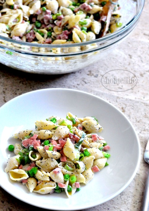 creamy ham and pea pasta salad via www.firsthomelovelife.com