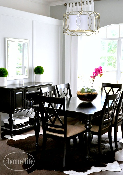 gray black and white dining room via firsthomelovelife.com
