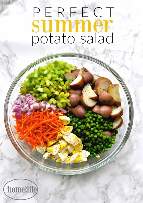the perfect summer potato salad recipe- great for picnics, potlucks, and bbq via www.firsthomelovelife.com