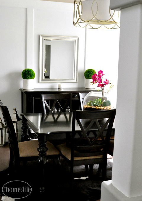 transitional modern white and gray dining room via firsthomelovelife.com