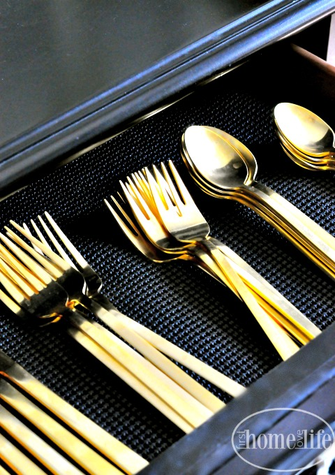 west elm gold flatware via firsthomelovelife.com
