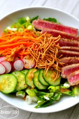 ahi tuna salad with hibatchi ginger dressing via firsthomelovelife.com
