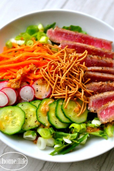 Seared Ahi Tuna Salad with Ginger Dressing