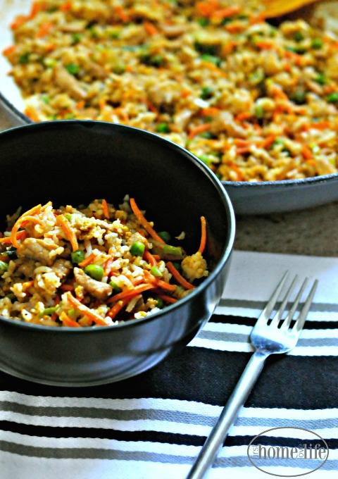 easy pork fried rice recipe at home via firsthomelovelife.com